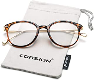 COASION Vintage Round Clear Glasses Non-Prescription Eyeglasses Frames for Women Men