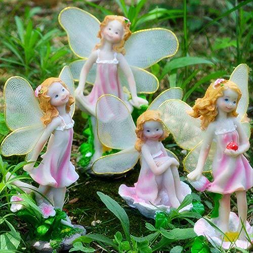 ZCQBCY Estatua de decoración de Figuras de jardín Flor Hada Decoración Resina Artesanía Bonsai Micro Paisaje Flor Elfo Chica Hogar