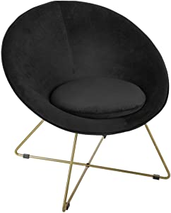 ATMOSPHERA Sessel aus schwarzem Samt, Füße aus Metall, goldfarben