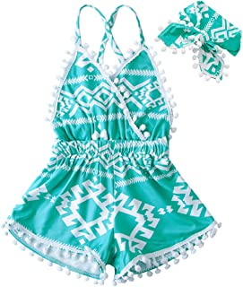 UNICOMIDEA 6M-4T Baby Girl Backless Bodysuit Outfit Set Romper Jumpsuit with Headband