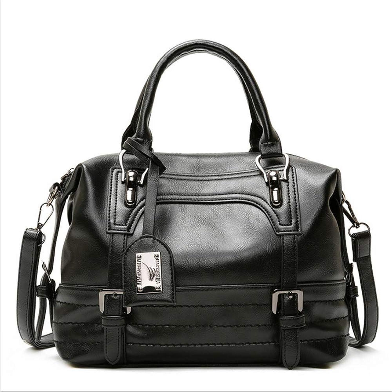 New Women's Bag Oil Wax Leather Simple Boston Handbag Shoulder Diagonal Bag,Black