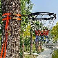 バスケットゴール 2ストラップ付きの大人と子供のための屋外バスケットボールのリムとゴール - ツリー、ポールマウント、プール、バスケットボールコートのバスケットボールフープの交換 (Color : Black, Size : Double Ring)