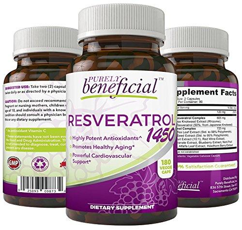 RESVERATROL1450 - 90day Supply, 1450mg per Serving of Potent Antioxidants & Trans-Resveratrol, Promotes Anti-Aging, Cardiovascular Support, Maximum Benefits (1bottle)