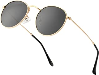 Sponsored Ad - Small Round Polarized Sunglasses for Women Men Circle Metal Frame Sun Glasses with UV Protection