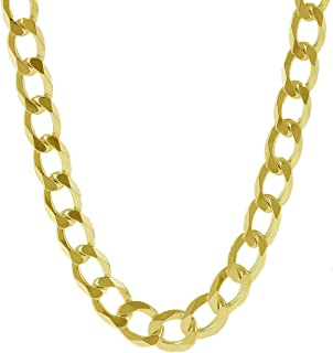 Pori Jewelers 10K Yellow Gold 7.5MM Thick Curb/Cuban Chain Necklace-Made in Italy