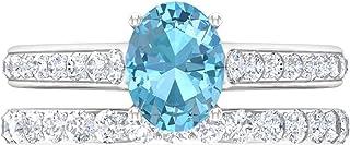 Anillo solitario de corte ovalado de 8 x 6 mm, anillo de eternidad de moissanita D-VSSI, juego de anillos de novia, oro bl...