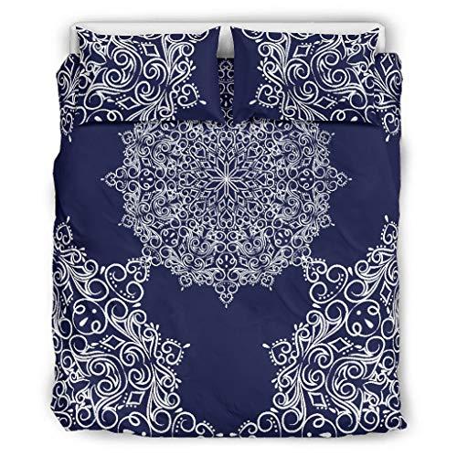 O2ECH-8 middernachtblauw mandala sprei Europese stijl 3-delig dekbedovertrekken - Soft Bohemia beddengoedset