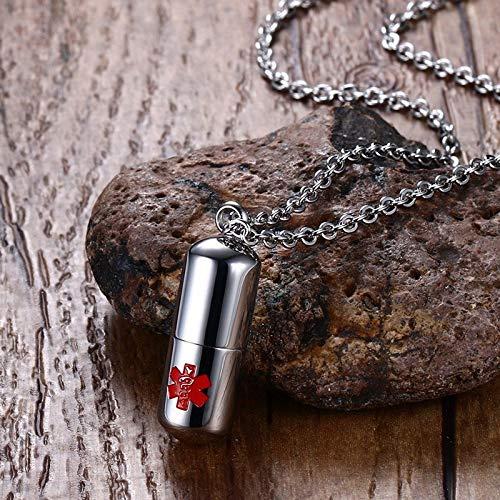 SONGAI Edelstahl Pillen Kapsel Feuerbestattung Asche Urnen Halsketten mit Medical Alert Zeichen Geheimfach Box (Length : 500mm)