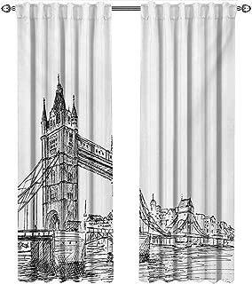 shenglv Vintage, Curtains Small Window, Old Fashion London Tower Bridge Sketch Architecture British UK Scenery Art Print, Curtains Nursery, W72 x L84 Inch, Black White