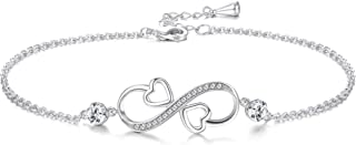 Sllaiss Heart Infinity Anklets for Women Made with Swarovski Crystals, White Gold Plated,Large Bracelet Summer Anniversary...