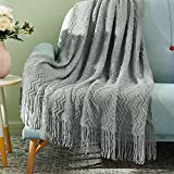 Ophanie Throw Blankets for Couch Bed 50 x 60 inches, Decorative Knitted Boho Throw for Sofa, Lightweight Farmhouse Woven Summer Blankets, Suitable for All Seasons, Grey