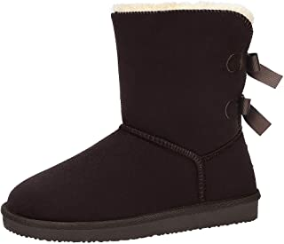 Winter Warm Boots for Women Mid Ankle Boots Fur Lining Snow Boot Comfortable Suede Bow Bootie Slip On