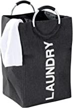Myconvoy Laundry Hamper,Portable Folding Large Laundry Hamper Bag With Handles,Double Laundry Basket Suitable For Washing Storage, Are Great For The Kids Room College Dorm Or Travel (Black)