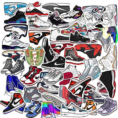 REZAUP Pegatinas de zapatillas de baloncesto para Air Jordan, marca de moda, zapatillas para portátil, monopatín, moto, 50 unidades
