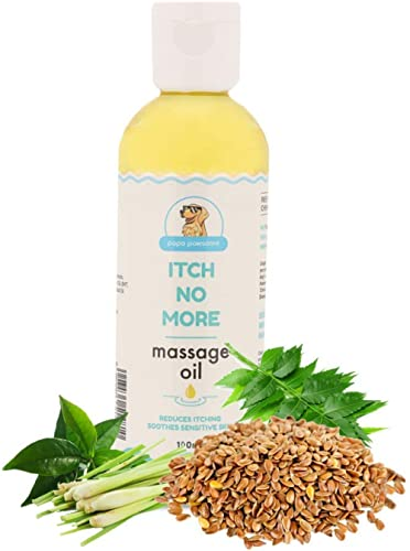 Papa Pawsome 100ml Itch No More Massage Oil for Pet Dogs Care with Tea Tree and Lemongrass Essential Oil - Reduces it...