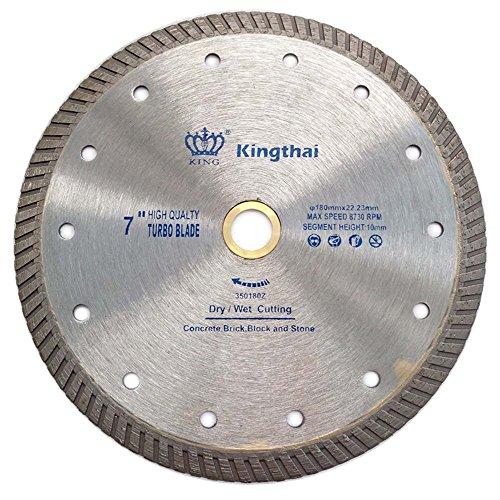 Kingthai 7 inch Stone Cutting Premium Turbo Continuous Rim Diamond Blades for Granite Marble (Factory Direct Sale) (7inch), 7/8