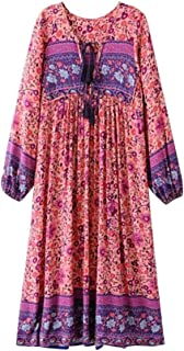 TrendyCosmo Women's Casual Floral Printed Long Sleeve Retro V Neck Boho Dress Loose Tassel Bohemian Midi Dresses