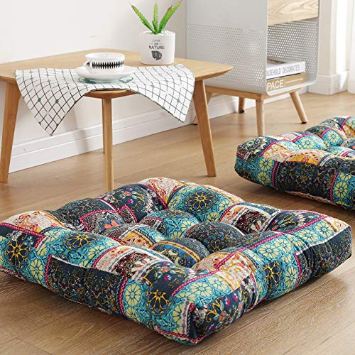 Boho Decor Floor Seat Cushion Pillow 22' x 22' Square, Bohemian Indian Yoga Mandala Meditation Cushions Pillows Pouf Reading Nooks Tatami Futon Seating Floor Mat Chair Pad, Flowers Green