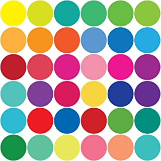 36 Confetti Rainbow Colors Polka Dots Wall Decals, Matte Eco-Friendly Fabric Decals That are Repositionable, Reusable, Removable, Peel and Stick Dot Decals
