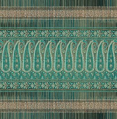 Bassetti Funda de cojín Decorativa Piazza Ducale V1 Verde, 100% algodón, con Cremallera, tamaño: 60 x 60 cm, 9314530