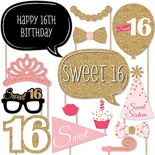 Big Dot of Happiness Sweet 16 Birthday - Photo Booth Props Kit - 20 Count