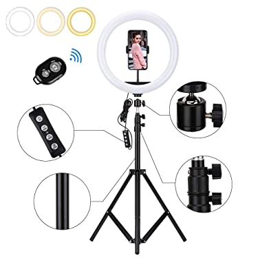 """Zorara Ring Light with Stand,12'' Selfie Ring Light with 62"""" Extendable Tripod Stand for Live Stream,YouTube Video,TikTok,Compatible for iPhone/Camera/Androis"""