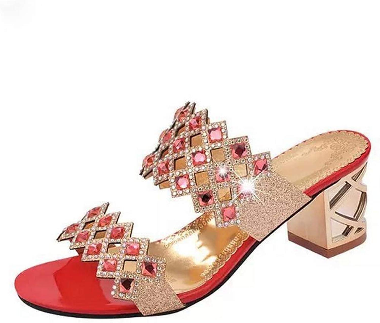Hoxekle Women Sparkle Rhinestone Hollow Chunky Heel Sandals Ladies Sexy Summer Fashion Summer shoes