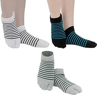 Unisex Flip Flop Socks Tabi Split Toe Geta Wicking Cotton/Sandal Socks, 3 Pairs Pack