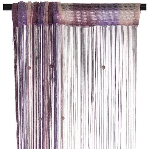 Smartfox Fadenvorhang 140 x 250 cm in Lila/Flieder/Rosa mit Perlen Fadengardine Fadenstore Vorhang Schal Faden