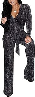 ECHOINE Womens Sparkly V Neck Long Sleeve Party Clubwear Bodycon Jumpsuit Romper Pants Clubwear M XXL