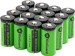 RCR123A Rechargeable Batteries KinGuard 16 Pack 3.7V 750mAh CR123A Li-ion Battery for Arlo Camera VMC3030 VMK3200 VMS3330 3430 3530 Security System Flashlight