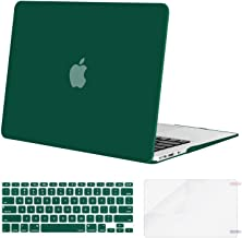 MOSISO Plastic Hard Shell Case & Keyboard Cover & Screen Protector Only Compatible with MacBook Air 13 inch (Models: A1369 & A1466, Older Version 2010-2017 Release), Peacock Green