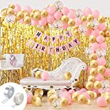 This exclusive birthday decoration Package include 1pc pink happy birthday banner, 2pcs golden fringe foil curtain, 30pcs pink balloons, 30pcs gold balloons and 28pcs white latex balloons,1pc arc and 1pc glue dot. This balloon garland kit with birthd...
