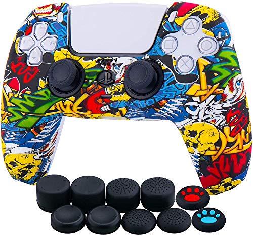 Wassertransferdruck Silikonverdickte Hauthülle für Sony PS5 Dualsense Controller x 1 (Spritzlack) mit Daumengriffen x 10-Comic_Graffiti