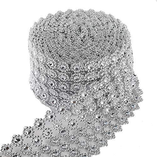 """JSSHI 6 Row,4"""" x10 Yard,Silver Flower Diamond Rhinestone Crystal Mesh Ribbon Wrap Roll for Wedding Decorations, Wedding Cake, Birthdays, Party Supplies, Arts & Crafts(Flower Pattern 10 Yards) (Silver)"""