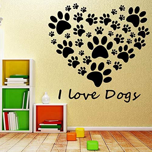 TYLPK Abnehmbare Ich Liebe Hund Kinder Vinyl selbstklebende Wand Raumdekoration Nordischen Stil Home Art Wandaufkleber rosa 58X56 CM