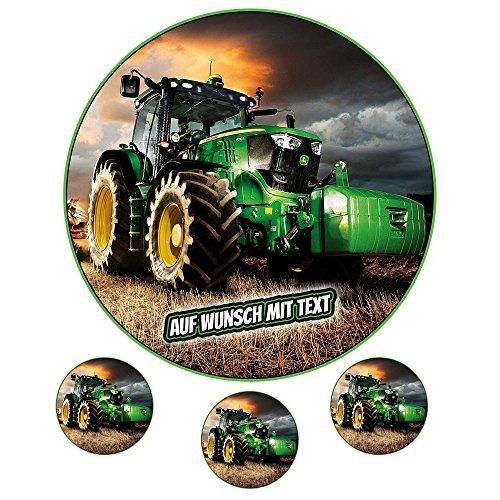Tortenaufleger Fototorte Oblate bild Geburtstag Motiv: Grüner Traktor (Zuckerpapier)