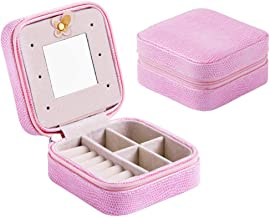 Travel Portable Jewelry Box Stud Earrings Jewelry Storage Box Leather Small Jewelry Bag,Pink