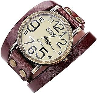 Ledhill CCQ Vintage Big Number Leather Fashion Bangle Bracelet Wrist Watch (Dark Brown)