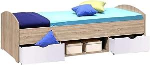 AVANTI TRENDSTORE - Nemu - Fusto Letto per Camera da Ragazzi o Bambini, con 1 vano Aperto e 2 cassetti, Disponibile in 2 Diversi Colori, Dimensioni: Lap 96x66x204 cm (Marrone/Bianco)