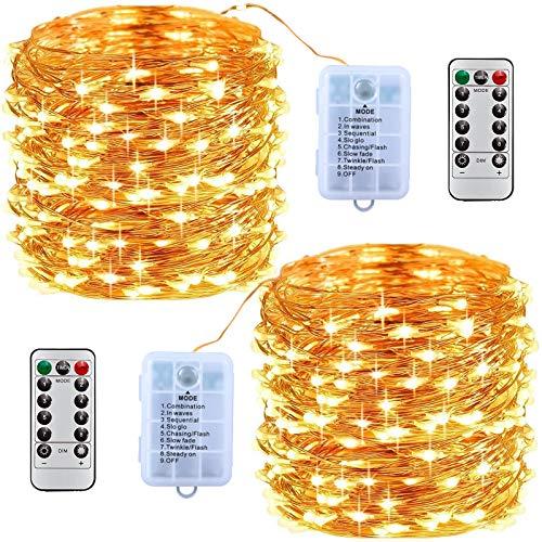 MOOING LED Lichterkette [2 Pack] 10M Lichterkette Batterie mit 100 LED Wasserdicht Stimmungs Lichterkette Draht,8 Modi mit Fernbedienung,für Weihnachten,Innen/Außen Dekoration (Warm weiß)