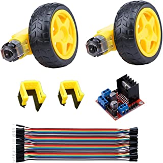 DC Electric Motor 3-6V Dual Shaft Gear motor TT motor with Plastic Tire/Wheel, 40pin Male to Female Multicolored Wire,Motor Support/Bracket,Motor Drive Controller (Dual Shaft/Biaxial)
