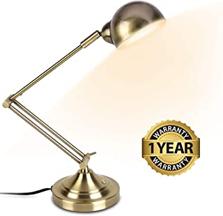 LED Desk Lamp - Brass Desk Lamps, 7W Energy-Saving, 350° Adjustable Arm, Eye-Caring, Touch Control, Vintage Antique Table Lamps, Dimmable Gold Desk Lamp for Office, Work, Reading, Study