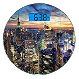 Escala digital de peso corporal de precisión Ronda Nueva York Báscula de baño de vidrio templado ultra delgado Mediciones de peso precisas,Skyline de NYC con rascacielos urbanos en Sunset Dawn Streets