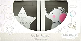 Barnkammare bokstöd bebisrum dekoration halkfri hylla display elefant och stjärna grå kön neutral design perfekt present f...