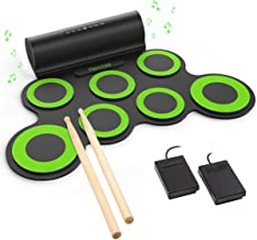PAXCESS Electronic Drum Set, Roll Up Drum Practice Pad Midi Drum Kit with Headphone Jack Built-in Speaker Drum Pedals Drum Sticks 10 Hours Playtime, Great Holiday Birthday Gift for Kids (Renewed)