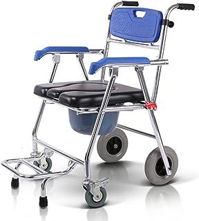 Aluminium Douchestoel Nachtkastje en Gewatteerde Zitting, Vouwen Verplaatsbare Toiletstoel voor Vervoer Medische Rolstoel ...
