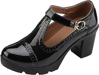 8826ac6cea2 DADAWEN Women s Classic T-Strap Platform Mid-Heel Square Toe Oxfords Dress  Shoes