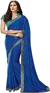 RajRajeshwari Women's Blue Color Designer Chiffon Saree