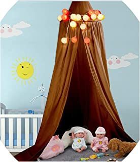 Baby Canopy Round Mosquito Net Boys Girls Princess Bed Canopy Cotton Bed Pest Control Reject Net Kids Room Decoration,Yellowishbrown